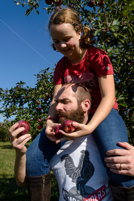 Based on the lower back pain that followed this orchard visit, this is probably the last time that Veronika will sit on her father's shoulders